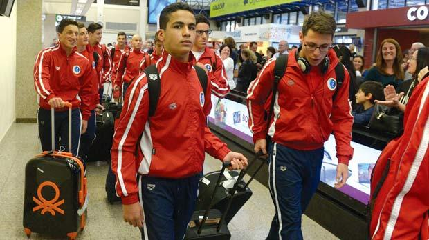 The waterpolo U-17 national team players on their arrival, yesterday. Photo:Matthew Mirabelli