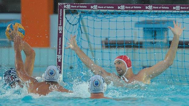 Action on the Sliema goal during yesterday's match. Photo: Matthew Mirabelli
