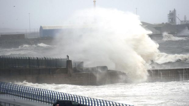 Giant waves in Sunderland yesterday as Britain was hit by gale force winds. Photo: PA Wire