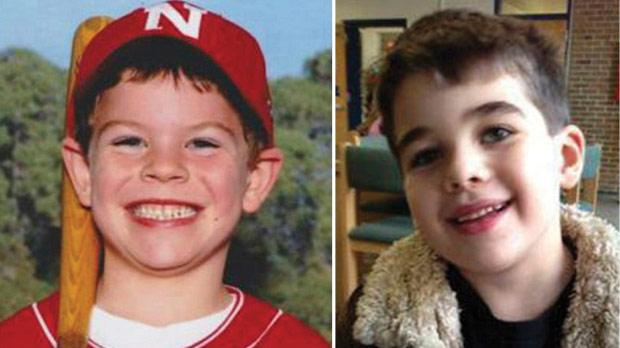 The two six-year-old boys Jack Pinto and Noah Pozner (right) who were buried yesterday.