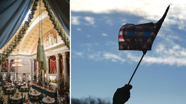 The Inaugural luncheon room at Statuary Hall in Washington. Photo: Benjamin Myers/Reuters. Right: A man waves a flag on the National Mall for the ceremonial swearing-in ceremonies in Washington. Photo: Shannon Stapleton/Reuters