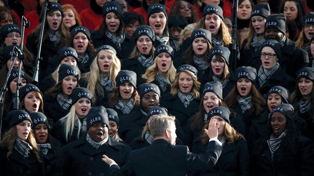 A glee core performing ahead of the swearing-in ceremony. Photo: Jason Reed/Reuters