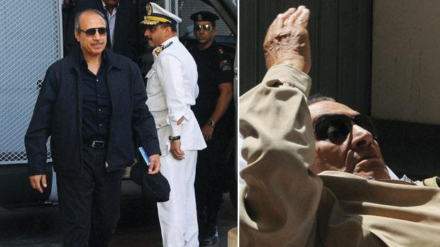 Former Egyptian interior minister Habib al-Adly arrives at the courtroom for his verdict hearing in Cairo yesterday. Right: Ousted Egyptian president Hosni Mubarak gestures as he is wheeled into an ambulance following his verdict hearing in Cairo yesterday. Photos: AFP