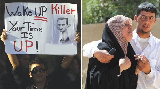 A Lebanese man carrying a sign calling on Syrian President Bashar al-Assad to step down during a rally in support of Syria's ongoing anti-regime uprising. Photo: Joseph Eid/AFP. Right: A woman in despair after gunmen killed 22 Shiite Muslim pilgrims on their way to Syria as they were passing through a predominantly Sunni Iraqi province from the shrine city of Karbala, in central Iraq. Photo: Mohammed Sawaf/AFP