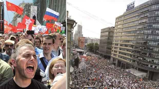 Tens of thousands of Russians gathered in Moscow yesterday for the first massive protest against President Vladimir Putin's rule since his inauguration as investigators summoned several key opposition figures for questioning in an apparent bid to disrupt the rally. Photo: Mikhail Metzel/ AP. Right: Tens of thousands of anti-Putin protesters took to the streets of Moscow yesterday in the March of Millions.