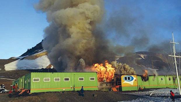 The Brazilian Antarctica's base Capitao Ferraz burning on Saturday.
