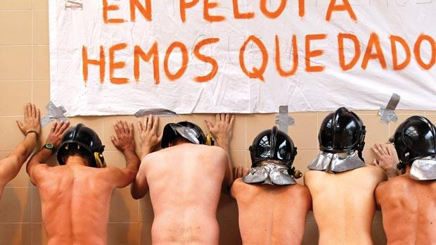 Firefighters of the Mieres Fire Station in Asturias, Spain, protesting against new austerity measures yesterday.