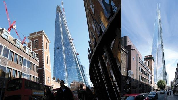 Left: London's Shard tower, designed by the architect of Malta's new parliament Renzo Piano, is inaugurated today to great fanfare.