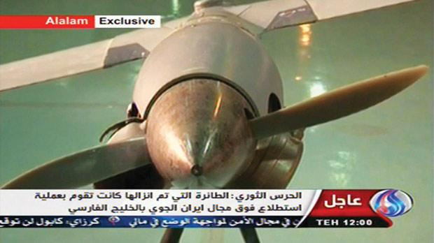 Iranian state TV's Arabic-language channel Al-Alam shows what it purports to be an intact Scan Eagle drone aircraft put on display yesterday. Photo: PA