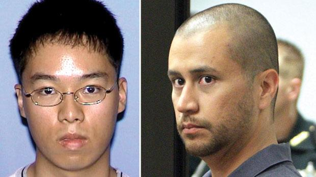Cho Seung-Hui. Right: George Zimmerman.