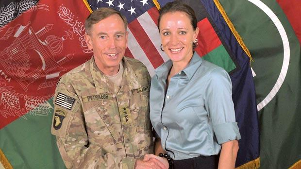 David Petraeus shaking hands with his biographer Paula Broadwell last year. Photo: AFP