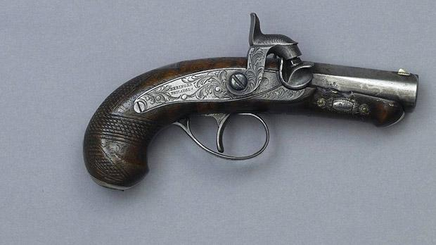 The .44 calibre Derringer pistol used by Booth to assassinate Lincoln on April 14, 1865.