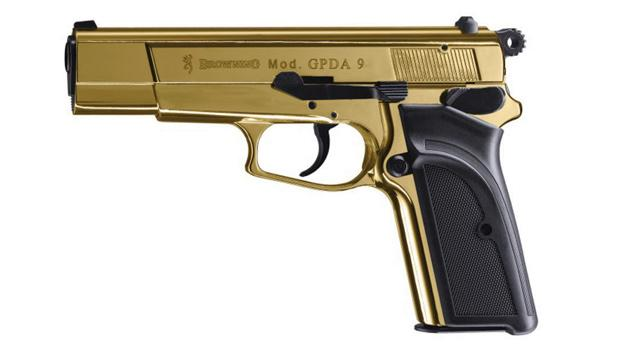 """The gold FN pistol used by actor Dominic Cooper in the movie The Devil's Double. The actor played the role of the double of Saddam Hussein's son, the notorious """"Black Prince"""" Uday Hussein."""