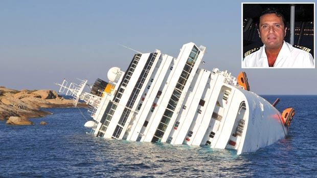The grounded Costa Concordia cruise ship off the tiny Tuscan island of Giglio. Captain Francesco Schettino (inset, nicknamed Captain Coward) charged with abandoning ship.