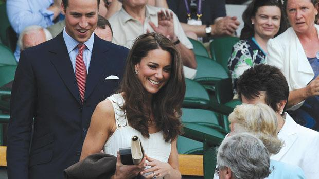 The Duke and Duchess of Cambridge arriving in the Royal Box on Centre Court during day seven of the 2011 Wimbledon Championships at the All England Lawn Tennis and Croquet Club, Wimbledon. Photo: Anthony Devlin/PA Wire.