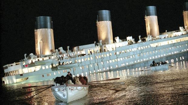 The Titanic sinking in the Hollywood movie...