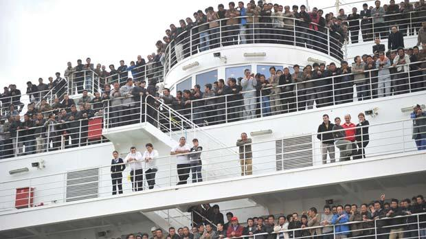 The Cruise Roma packed with Chinese evacuees who were ferried to Malta from Libya last February, in the Grand Harbour. Photo:Jason Borg
