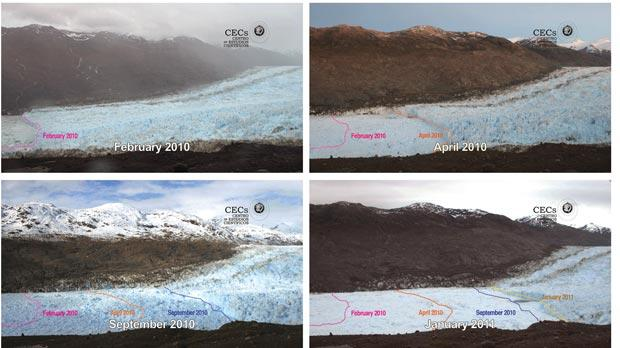 Photo grabs taken from a video released by the private organisation Centro de Estudios Cientificos, showing the retreat of the Jorge Montt glacier in Chile's Patagonia in a year time period. Photo: CEC/PA Wire