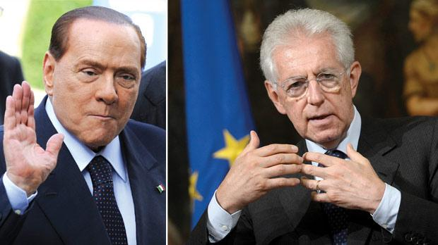 Media magnate Silvio Berlusconi dominated Italian politics for 17 years until his fall last November. Right: Italian Prime Minister Mario Monti's tough austerity programme includes a deeply unpopular tax on homes, which is worth €20 billion a year.