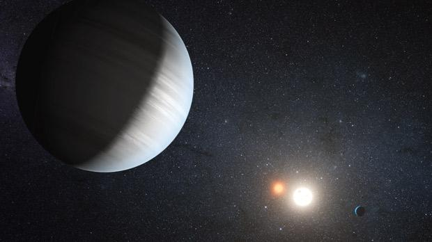 An artist's impression of the Kepler-47 solar system in which at least two planets orbit around two stars.