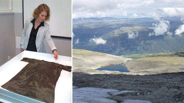 Marianne Vedeler, conservation expert at Norway's Museum of Cultural History, showing off the 1,700-year-old tunic used as warm outer clothing, found in the mountains of southern Norway in 2011. Photo: Reuters. Right: A valley in the mountains of south Norway, beside the thawing Lendbreen glacier. Photo: Reuters/Oppland county council