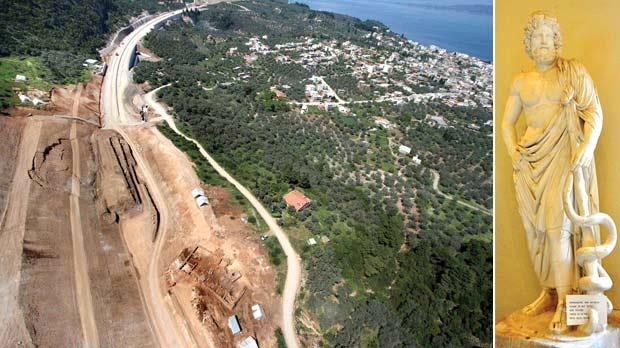 An aerial view shows an excavation near the city of Lamia, central Greece, where archaeologists in Greece have stumbled upon the remains of a sanctuary to Asclepios, the ancient god of healing. Right: A sculpture of Asclepios, the Greek god of healing.