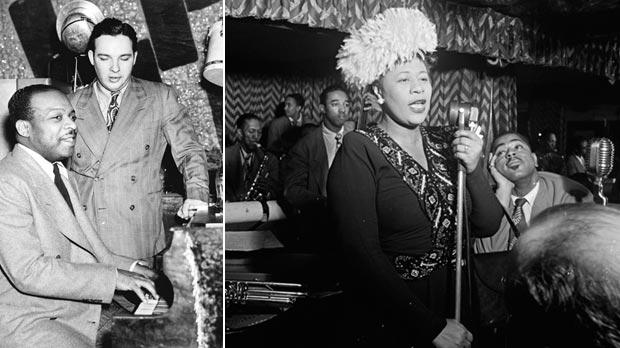 Count Basie and Bob Crosby at the theatre in 1941. Right: Ella Fitzgerald circa 1947. The singer appeared at the Howard in the 1930s.