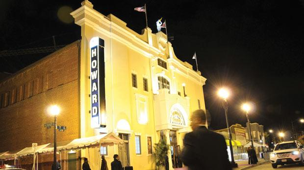 The Howard Theatre lit up during the gala opening in Washington, DC.