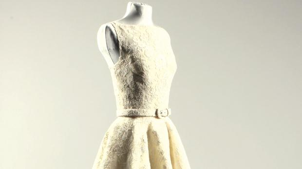 The dress worn by Audrey Hepburn on the night she won her best actress Oscar for her role in the 1953 film Roman Holiday and which is expected to fetch up to £60,000 at an auction later this month. Photo: Kerry Taylor Auctions/PA Wire