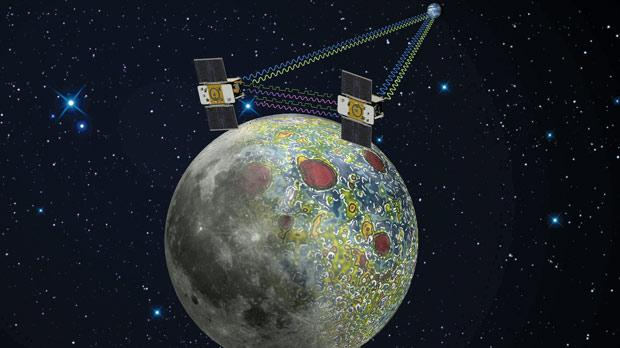 An artist rendering of the twin Grail spacecraft mapping the lunar gravity field.