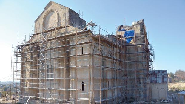 The 11th century Bagrati cathedral clad in scaffolding in Georgia's second largest city of Kutaisi.